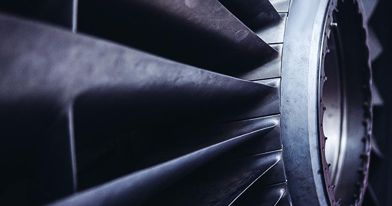 Flugzeugturbine in Nahaufnahme